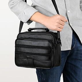 povoljno Muške torbe-Muškarci Patent-zatvarač Kravlja koža Torba za rame Crn