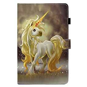 voordelige Galaxy Tab E 9.6 Hoesjes / covers-hoesje Voor Samsung Galaxy Tab E 9.6 / Tab E 8.0 / Tab A 9.7 Kaarthouder / met standaard / Flip Volledig hoesje Eenhoorn Hard PU-nahka