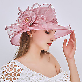 cheap Women's Accessories-Women's Bucket Hat Floppy Hat Lace Party Holiday - Solid Colored Beaded Ruffle Mesh All Seasons Wine Blushing Pink