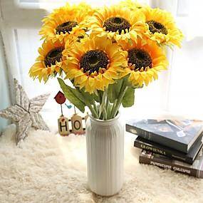 ieftine Flori Artificiale-Flori artificiale 5 ramură stil minimalist Flori de Nuntă Floarea soarelui Florile veșnice Față de masă flori