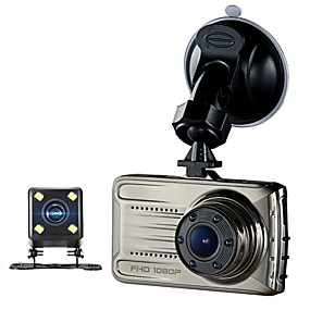 voordelige Auto DVR's-3 inch auto dvrtft lcd hd 1080p geroteerde 170 graden ultra groothoek dubbele dual lens dash camera voertuig digitale video recorder camcorder