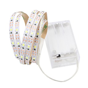 رخيصةأون شريط الضوء LED-1 متر مرنة أدى ضوء شرائط 60 المصابيح 2835 smd 8 ملليمتر دافئ أبيض / أبيض cuttable / الزخرفية / بطاريات ذاتية اللصق أأ بدعم 1 قطعة