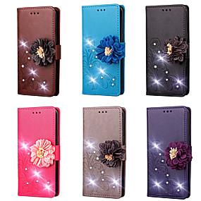 Недорогие Чехлы и кейсы для Galaxy Note 2-Кейс для Назначение SSamsung Galaxy Note 8 / Note 5 / Note 4 Кошелек / Бумажник для карт / Стразы Чехол Однотонный / Цветы Твердый Кожа PU