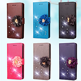 Недорогие Чехлы и кейсы для Galaxy A7(2016)-Кейс для Назначение SSamsung Galaxy A7(2016) / A5(2016) / A3(2016) Кошелек / Бумажник для карт / Стразы Чехол Однотонный / Цветы Твердый Кожа PU