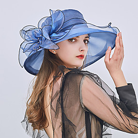 cheap Women's Accessories-Women's Kentucky Derby Party Holiday Lace Bucket Hat Floppy Hat Straw Hat-Patchwork Ruffle All Seasons Fuchsia Wine Light Brown