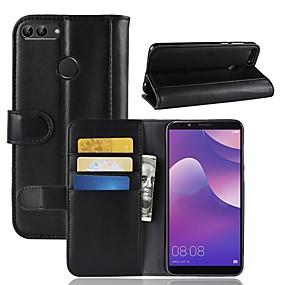 Недорогие Чехлы и кейсы для Huawei серии Y-Кейс для Назначение Huawei Y9 (2018)(Enjoy 8 Plus) / Huawei Y7 Prime(Enjoy 7 Plus) / Y7 Prime (2018) Кошелек / Бумажник для карт / со стендом Чехол Однотонный Твердый Настоящая кожа