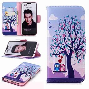 Недорогие Чехлы и кейсы для Huawei Honor-Кейс для Назначение Huawei Honor 7X / Honor 7C(Enjoy 8) / Honor 6X Кошелек / Бумажник для карт / со стендом Чехол Сова Твердый Кожа PU