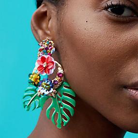 olcso Virágos ékszerek-Női Függők Virágos / Botanikus Leaf Shape Virág hölgyek Európai Divat afrikai Fülbevaló Ékszerek Piros / Zöld / Világos rózsaszín Kompatibilitás Napi Hivatal és karrier 1 pár