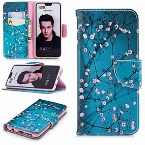 Недорогие Чехлы и кейсы для Huawei Honor-Кейс для Назначение Huawei Honor 8 / Honor 7X / Honor 7C(Enjoy 8) Кошелек / Бумажник для карт / со стендом Чехол Цветы Твердый Кожа PU