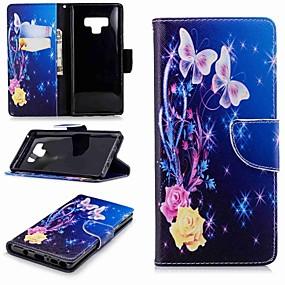 Недорогие Чехлы и кейсы для Galaxy Note 8-Кейс для Назначение SSamsung Galaxy Note 9 / Note 8 Кошелек / Бумажник для карт / со стендом Чехол Бабочка Твердый Кожа PU