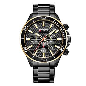 Недорогие Фирменные часы-CURREN Муж. Нарядные часы Часы-браслет Кварцевый Черный / Белый Защита от влаги Календарь Повседневные часы Аналоговый Классика На каждый день Мода - Белый Черный Красный / Нержавеющая сталь