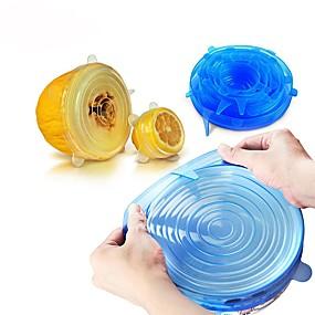 رخيصةأون أدوات & أجهزة المطبخ-6 قطع عالمي سيليكون الغذاء التفاف غطاء السلطانية سيليكون غطاء مطبخ عموم فراغ غطاء السداده