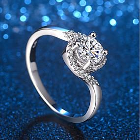olcso Ezüst-Női Gyűrű Micro Pave gyűrű 1db Ezüst Sárgaréz Platina bevonat Hamis gyémánt hölgyek Egyedi divatba jövő Esküvő Előírásos Ékszerek Stílusos Crossover HALO Értékes Bájos