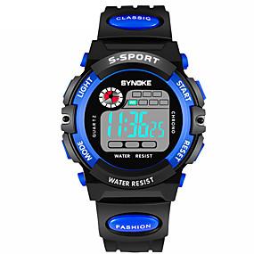 Недорогие Фирменные часы-SYNOKE Муж. Спортивные часы электронные часы Цифровой Стеганная ПУ кожа Черный 30 m Защита от влаги Календарь Секундомер Цифровой Мода - Желтый Красный Оранжевый / С двумя часовыми поясами
