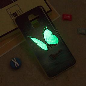 Недорогие Чехлы и кейсы для Galaxy J5(2016)-Кейс для Назначение SSamsung Galaxy J8 / J7 (2017) / J7 (2016) Сияние в темноте / IMD / С узором Кейс на заднюю панель Бабочка Мягкий ТПУ