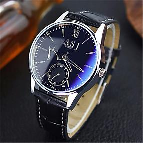 Недорогие Фирменные часы-ASJ Муж. Нарядные часы Наручные часы Кварцевые Кожа Коричневый Защита от влаги Аналоговый Классика На каждый день - Синий Черный Черный / Белый Один год Срок службы батареи / SSUO SR626SW