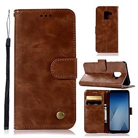 voordelige Galaxy A5(2016) Hoesjes / covers-hoesje Voor Samsung Galaxy A6 (2018) / A6+ (2018) / A3 (2017) Portemonnee / Kaarthouder / met standaard Volledig hoesje Effen Hard PU-nahka