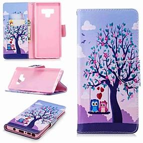 Недорогие Чехлы и кейсы для Galaxy Note 8-Кейс для Назначение SSamsung Galaxy Note 9 / Note 8 Кошелек / Бумажник для карт / со стендом Чехол дерево Твердый Кожа PU