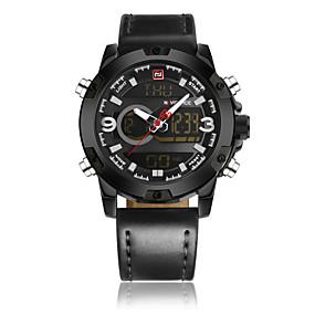 Недорогие Фирменные часы-NAVIFORCE Муж. Нарядные часы Наручные часы электронные часы Кварцевый Натуральная кожа Черный / Коричневый 30 m Защита от влаги ЖК экран Повседневные часы Аналого-цифровые Классика На каждый день Мода