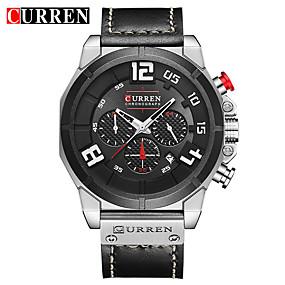 Недорогие Фирменные часы-CURREN Муж. Нарядные часы Часы-браслет Авиационные часы Кварцевый Натуральная кожа Черный / Коричневый Защита от влаги Календарь Новый дизайн Аналоговый Классика На каждый день Мода -