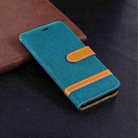 voordelige Galaxy J5(2017) Hoesjes / covers-hoesje Voor Samsung Galaxy J6 / J5 (2017) / J4 Portemonnee / Kaarthouder / met standaard Volledig hoesje Effen Hard tekstiili