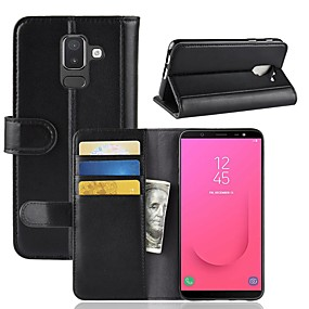 cheap Galaxy J5(2016) Cases / Covers-Case For Samsung Galaxy J8 / J7 Duo / J7 (2017) Wallet / Card Holder / with Stand Full Body Cases Solid Colored Hard Genuine Leather