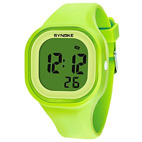 Недорогие Фирменные часы-SYNOKE Муж. Жен. Спортивные часы электронные часы Цифровой Мода Защита от влаги силиконовый Черный / Белый / Синий Цифровой - Белый Черный Желтый / Календарь / Секундомер / Хронометр