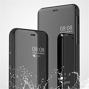 Недорогие Чехлы и кейсы для Galaxy Note 8-Кейс для Назначение SSamsung Galaxy Note 9 / Note 8 со стендом / Покрытие / Зеркальная поверхность Чехол Однотонный Твердый Кожа PU