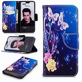 Недорогие Чехлы и кейсы для Huawei Honor-Кейс для Назначение Huawei Honor 7X / Honor 7C(Enjoy 8) / Honor 6X Кошелек / Бумажник для карт / со стендом Чехол Бабочка Твердый Кожа PU