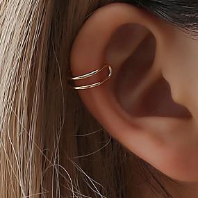 olcso Ezüst-Női Klipszes fülbevalók Fül Mandzsetta Helix fülbevaló Crossover Szöveg Olcsó hölgyek Egyszerű Egyedi aranyos stílus Small Fülbevaló Ékszerek Arany / Fekete / Ezüst Kompatibilitás Napi Éjszakát és