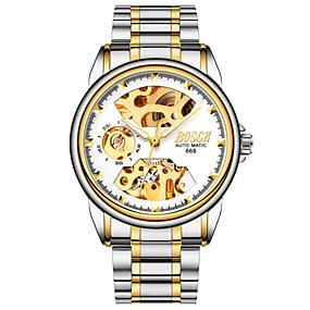Недорогие Фирменные часы-BOSCK Муж. Часы со скелетом Механические часы С автоподзаводом Нержавеющая сталь Серебристый металл 30 m Защита от влаги С гравировкой Фосфоресцирующий Аналоговый Роскошь Скелет -