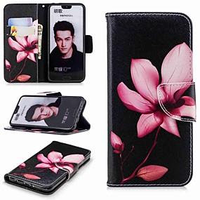 voordelige Huawei Honor hoesjes / covers-hoesje Voor Huawei Honor 7X / Honor 7C(Enjoy 8) / Honor 6X Portemonnee / Kaarthouder / met standaard Volledig hoesje Bloem Hard PU-nahka