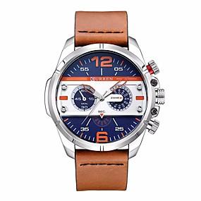 Недорогие Фирменные часы-CURREN Муж. Нарядные часы Часы-браслет Кварцевый Стеганная ПУ кожа Черный / Коричневый Защита от влаги Новый дизайн Повседневные часы Аналоговый На каждый день Мода - / Нержавеющая сталь