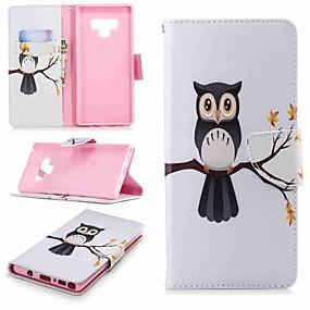 Недорогие Чехлы и кейсы для Galaxy Note 8-Кейс для Назначение SSamsung Galaxy Note 9 / Note 8 Кошелек / Бумажник для карт / со стендом Чехол Сова Твердый Кожа PU