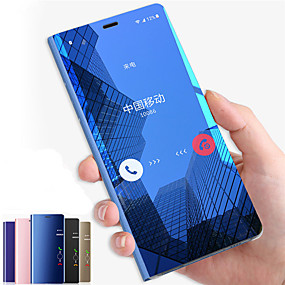 Недорогие Чехлы и кейсы для Galaxy Note 8-Кейс для Назначение SSamsung Galaxy Note 9 / Note 8 / Note 5 со стендом / Зеркальная поверхность / Флип Чехол Однотонный Твердый ПК