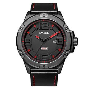 Недорогие Фирменные часы-SMAEL Муж. Спортивные часы Наручные часы Японский Японский кварц Натуральная кожа Черный 50 m Защита от влаги Календарь Повседневные часы Аналоговый На каждый день Мода - Черный Черный / Красный