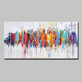 economico Pittura-Hang-Dipinto ad olio Dipinta a mano - Astratto Pop Art Modern Senza telaio interno / Tela arrotolata