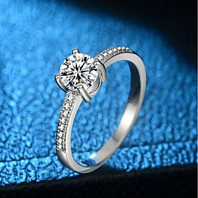 olcso Ezüst-Női Gyűrű Micro Pave gyűrű 1db Ezüst Réz Platina bevonat Hamis gyémánt Négyágú hölgyek Egyedi divatba jövő Előírásos Munka Ékszerek Stílusos Szoliter HALO Értékes Bájos