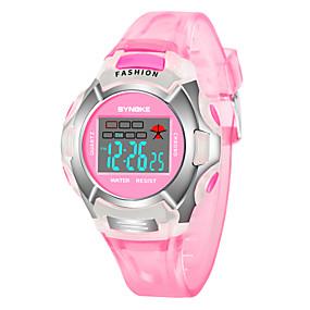 Недорогие Фирменные часы-SYNOKE Муж. Жен. электронные часы Цифровой Стеганная ПУ кожа Черный / Синий / Красный 30 m Защита от влаги Календарь Секундомер Цифровой Мода - Лиловый Красный Розовый / Фосфоресцирующий