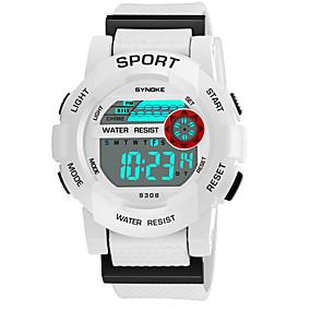 Недорогие Фирменные часы-SYNOKE Муж. Жен. Спортивные часы электронные часы Цифровой Стеганная ПУ кожа Черный / Белый / Розовый 50 m Защита от влаги Календарь Секундомер Цифровой Мода - Белый Черный Желтый / Фосфоресцирующий