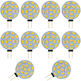 ieftine Becuri LED Bi-pin-10pcs 2w g4 condus bi-pin bulb rotund 15 smd 5730 dc / ac 12 - 24v cald / rece alb