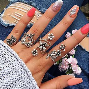 olcso Virágos ékszerek-Női mandzsetta Ring Gyűrű készlet hüvelykujj gyűrű 4db Ezüst Ötvözet Circle Shape Geometric Shape hölgyek Szokatlan Egyedi Esküvő Napi Ékszerek Régies stílus Leaf Shape Virág Menő
