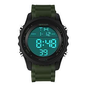 voordelige Merk Horloge-SANDA Heren Dames Sporthorloge Digitaal horloge Japans Digitaal Silicone Zwart / Bruin / Kaki 30 m Waterbestendig Kalender Stopwatch Digitaal Luxe Modieus - Blauw Khaki Donkergroen / Maanfase