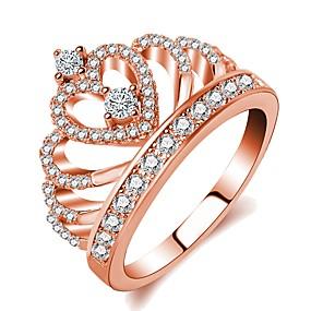 olcso Ezüst-Női Gyűrű Princess Crown Ring 1db Vörös arany Sárgaréz Rózsa arany bevonattal Hamis gyémánt hölgyek Klasszikus Romantikus Esküvő Estély Ékszerek Stílusos Korona Bájos
