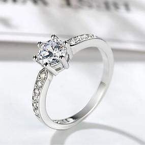 olcso Ezüst-Női Gyűrű Belle gyűrű 1db Ezüst Sárgaréz Platina bevonat Hamis gyémánt Hatágú hölgyek Egyedi divatba jövő Esküvő Előírásos Ékszerek Stílusos Szoliter HALO Értékes Bájos