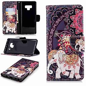 Недорогие Чехлы и кейсы для Galaxy Note 8-Кейс для Назначение SSamsung Galaxy Note 9 / Note 8 Кошелек / Бумажник для карт / со стендом Чехол Слон Твердый Кожа PU