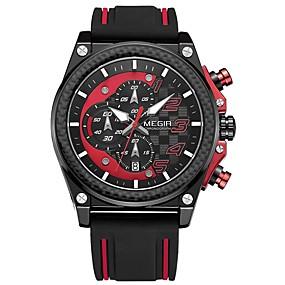 Недорогие Фирменные часы-MEGIR Муж. Спортивные часы Японский Кварцевый силиконовый Черный 30 m Защита от влаги Календарь Секундомер Аналоговый На каждый день Мода - Желтый Красный Серебряный / Фосфоресцирующий