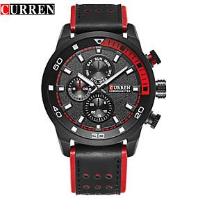 Недорогие Фирменные часы-CURREN Муж. Нарядные часы Часы-браслет Кварцевый Натуральная кожа Черный / Коричневый Защита от влаги Календарь Новый дизайн Аналоговый Классика На каждый день Мода - Белый Черный Кофейный