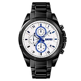 Недорогие Фирменные часы-SKMEI Муж. Для пары Спортивные часы Нарядные часы Кварцевый Крупногабаритные Нержавеющая сталь Черный / Серебристый металл / Золотистый 50 m Защита от влаги Cool Крупный циферблат Аналоговый