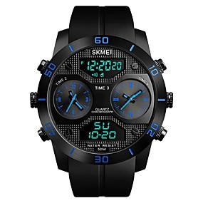 Недорогие Фирменные часы-SKMEI Муж. Спортивные часы электронные часы Цифровой Роскошь Защита от влаги Стеганная ПУ кожа Черный Аналоговый - Черный Красный Синий / Календарь / С тремя часовыми поясами / Фосфоресцирующий